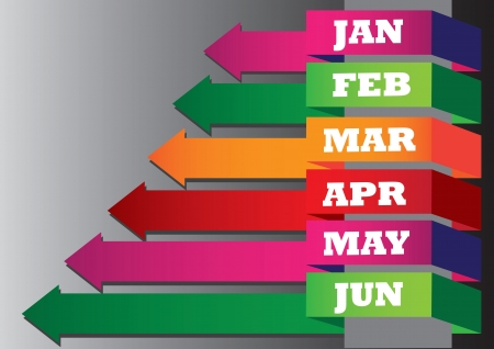 financial year: illustration of colorful stock chart for half a year