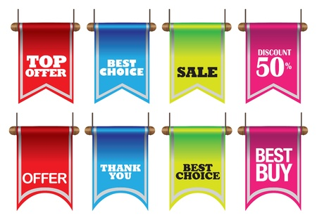 illustration of colorful discount sell labels Illustration