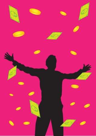 perks: illustration of a man standing with open arms with falling money.