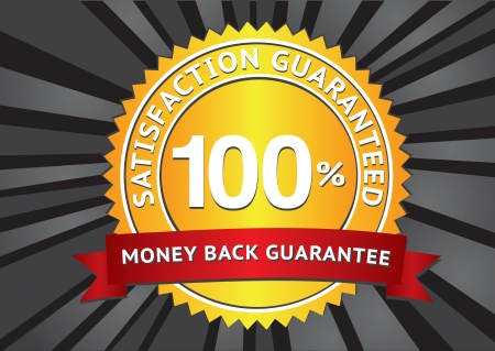 Customer satisfaction guaranteed gold seal and red banner  Vector