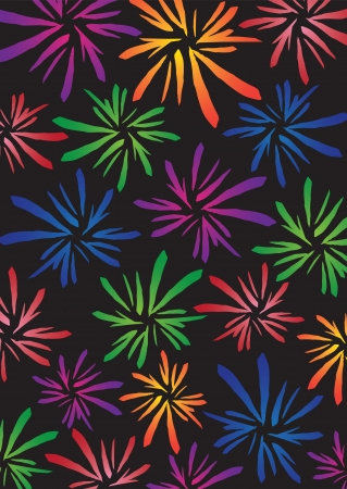 Pattern background with different colorful fireworks  Vector illustration  Stock Vector - 15569052