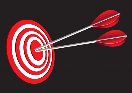 penetrating: Vector illustration of  red target board with two arrows