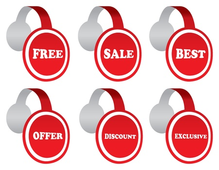 illustration of point of sale labels with sale messages