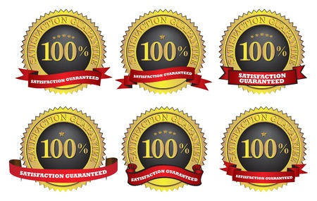 Different  illustration of Satisfaction guaranteed label or sign