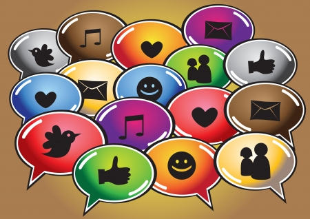 Social networking symbols in different colored speech bubbles  Stock Vector - 15644911