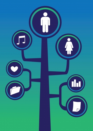Social network tree framework communication with icons Vector
