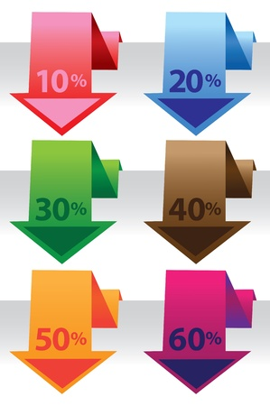 Promotional sale labels with price percent cut  illustration