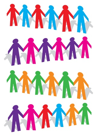 paper chain: Cut out human with different colors on white background  illustration  Illustration