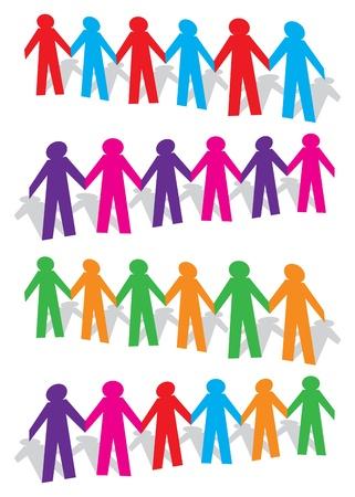 chainlinked: Knip de mens met verschillende kleuren op witte achtergrond illustratie