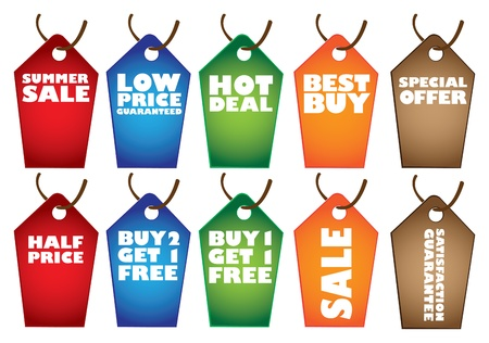 Colorful Sale label tags with promotional messages  illustration
