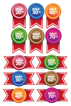 Promotional Sale Labels with messages  illustration Stock Vector - 15690911