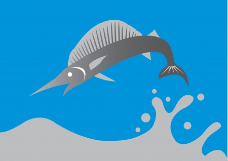 sportfishing: illustration of a big swordfish jumping out of the water