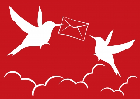 illustration of two silhouette birds deliver a mail  Vector