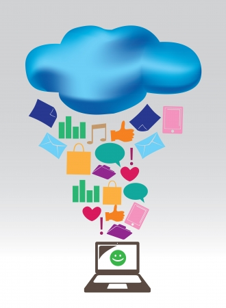illustration of Cloud computing concept   Vector