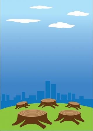 deforestacion: ilustraci�n de la deforestaci�n en contra de un paisaje urbano en el fondo