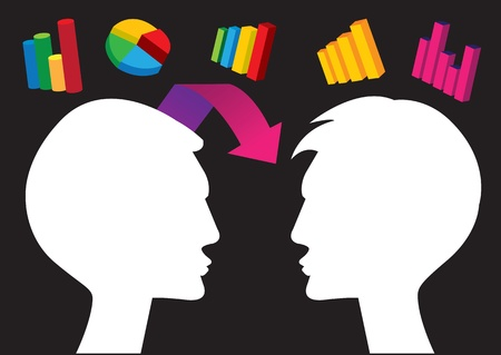 illustration of stock data sharing between two people Stock Vector - 15970496