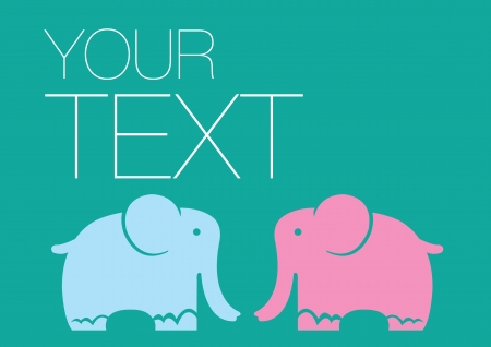 Layout of two elephants with own area for copy Vector