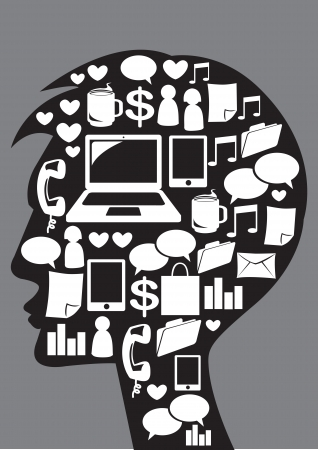 Illustration of silhouette man with social media icons Stock Vector - 15970503