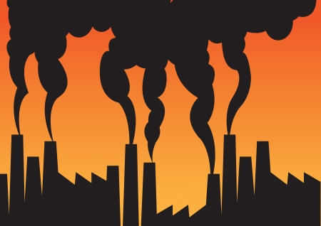industrial complex: Air pollution of factories with chimneys against the sky  illustration