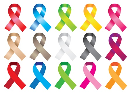 black breast: Awareness ribbons in different colors  illustration