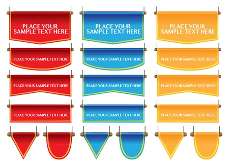 Different shapes of flag banner in three color sand own area for copy  illustration