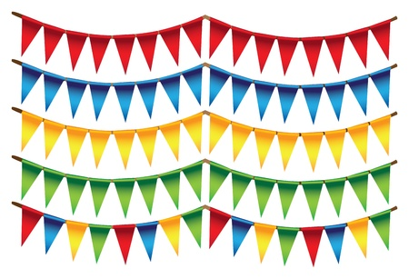 Small triangle flags in different colors illustration Vector Illustration
