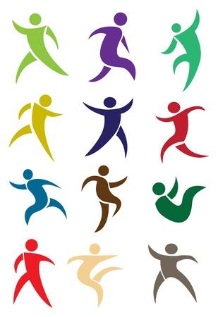 Postacie ludzkie w akcji w różnych kolorach ilustracji