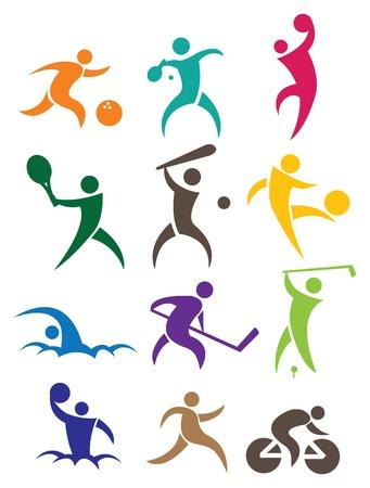 icono deportes: Deportes icono ilustración con la gente en diferentes colores Vectores