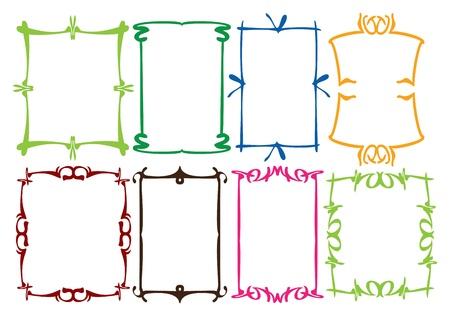 Motifs de bordures simples avec Vector illustration de couleurs diff�rentes pour invitation ou annonce