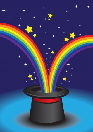 Magic hat with stars and rainbow  illustration  Stock Vector - 16190734