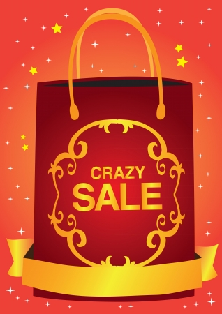 Crazy sale header design with shopping bag and stars Stock Vector - 16190716