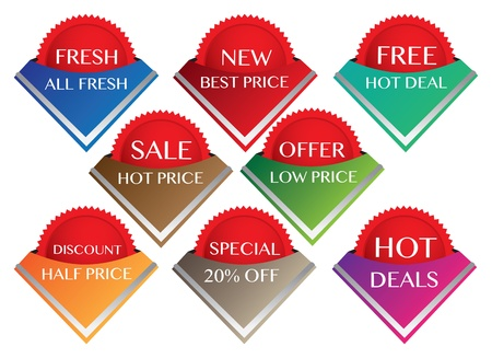 Sale labels in different colors and mesages  Vector illustration  Stock Vector - 16190718