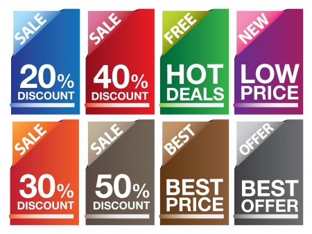 Sale labels in different colors and messages illustration