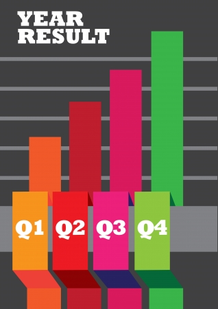 bar chart: illustration of colorful stock chart for a corporate company