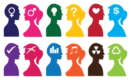 illustration of silhouette people with idea thoughts symbols