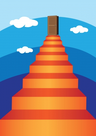 illustration of a long Virtual Ladder into the sky