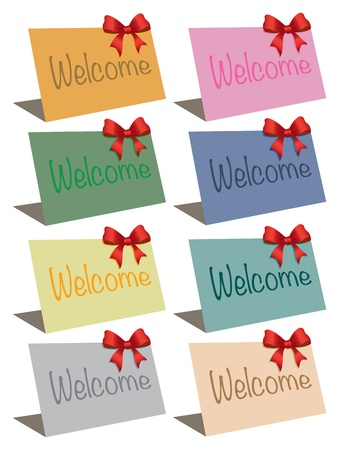 Eight colorful cards with a welcome message in it  illustration Stock Vector - 16519731