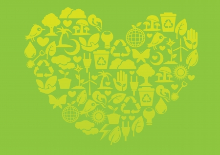 Ecology icons to form into a heart shape  Nature conservation concept  Vector