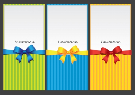 Three colorful vertical invitation card with different colored ribbon  illustration
