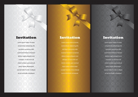 Luxury vertical invitation cards with ribbon bow  Vector illustration Stock Vector - 16667315