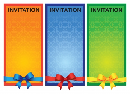 Three colorful vertical invitation card with different colored ribbon  illustration  Vector