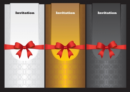 Luxury vertical invitation cards with red ribbon bow Stock Vector - 16667280