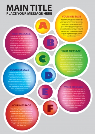 Six colors circles layout with alphabets  illustration