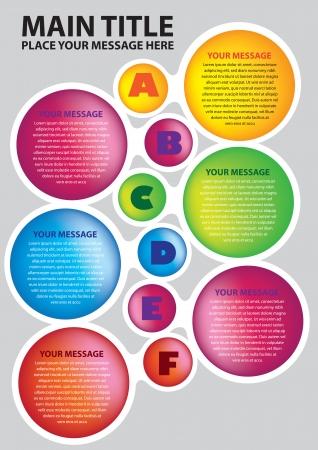 Six couleurs cercles mise en page avec une illustration alphabets Illustration