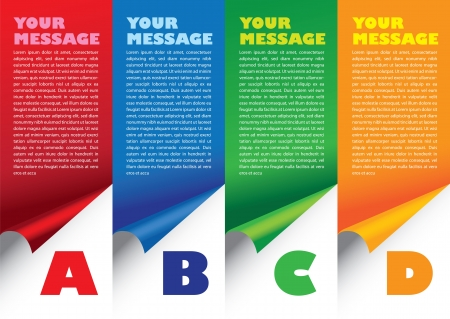 Layout design of fold paper with colors and area for text  Vector illustration  Stock Illustratie