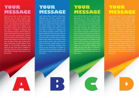 Layout design de plier le papier avec des couleurs et de la zone de texte Vector illustration Illustration