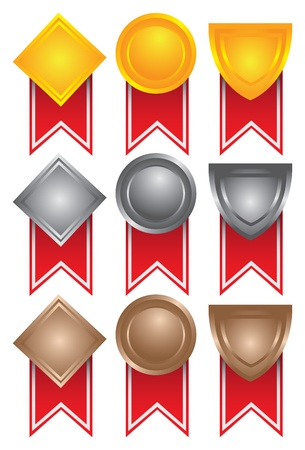 Collection of medals in gold, silver and bronze  illustration Vector