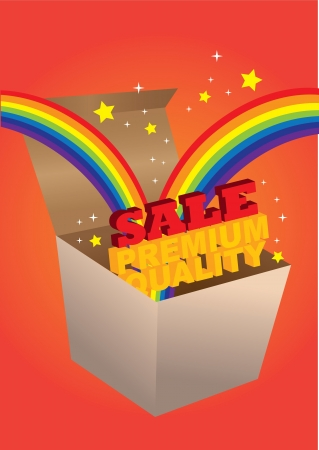 Open box with sale messages coming out with rainbow and stars  illustration  Vector