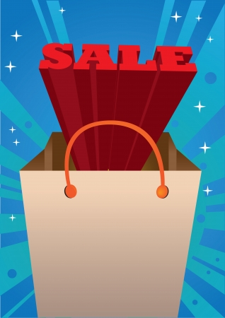 Red 3D Sale message coming out of a shopping bag  illustration  Vector