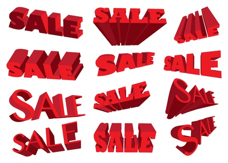 Red 3D sale text in different angles  illustration Stock Vector - 16667248